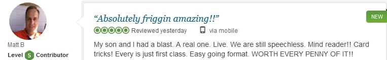 James Fortune's wonderful review from TripAdvisor